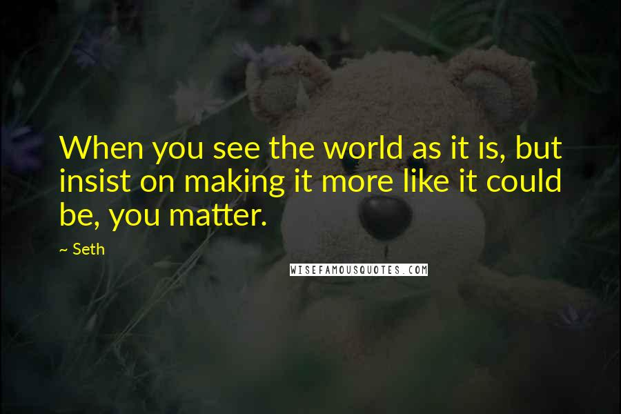 Seth quotes: When you see the world as it is, but insist on making it more like it could be, you matter.