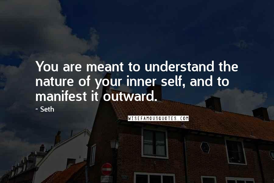 Seth quotes: You are meant to understand the nature of your inner self, and to manifest it outward.