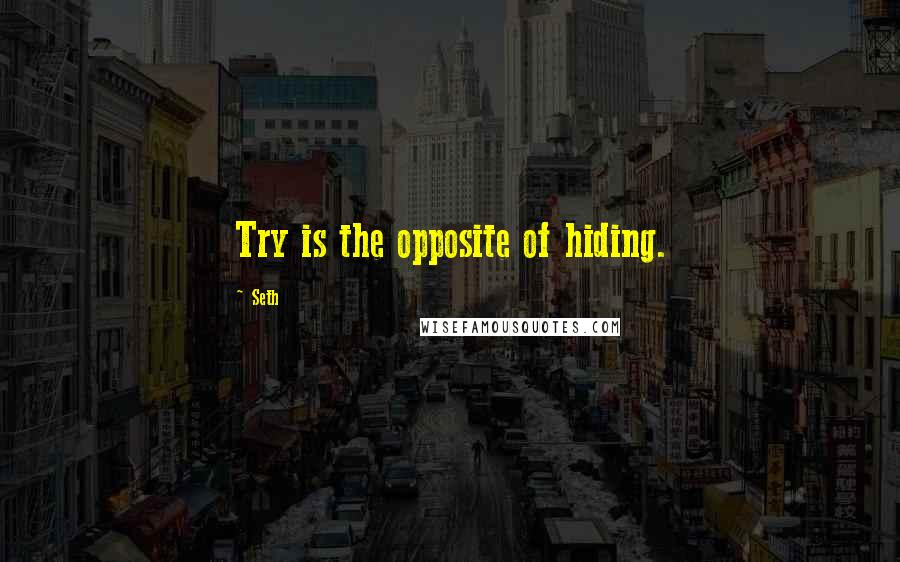 Seth quotes: Try is the opposite of hiding.