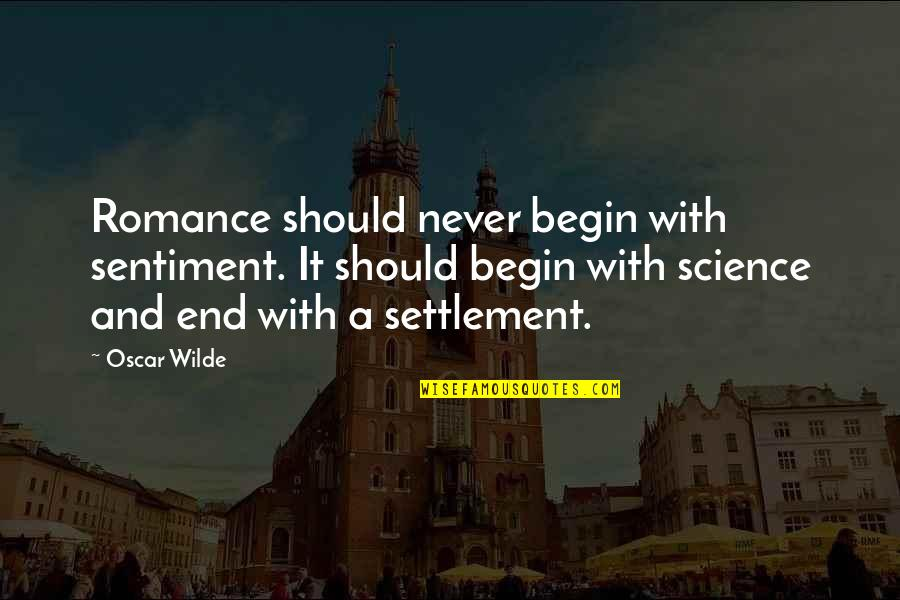 Settlement Quotes By Oscar Wilde: Romance should never begin with sentiment. It should