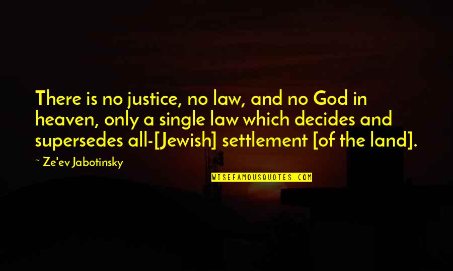 Settlement Quotes By Ze'ev Jabotinsky: There is no justice, no law, and no