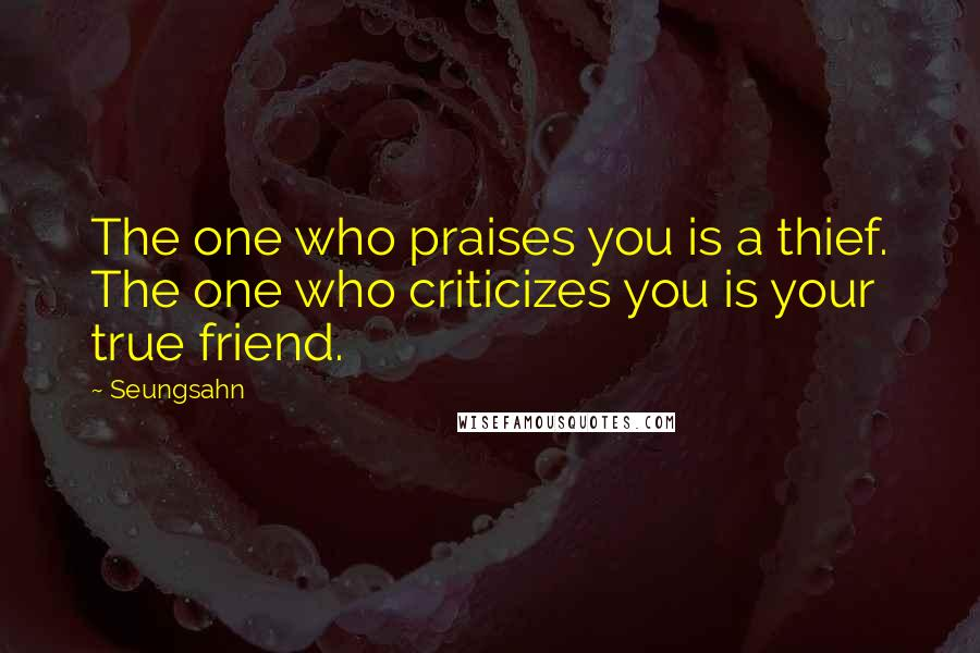Seungsahn quotes: The one who praises you is a thief. The one who criticizes you is your true friend.