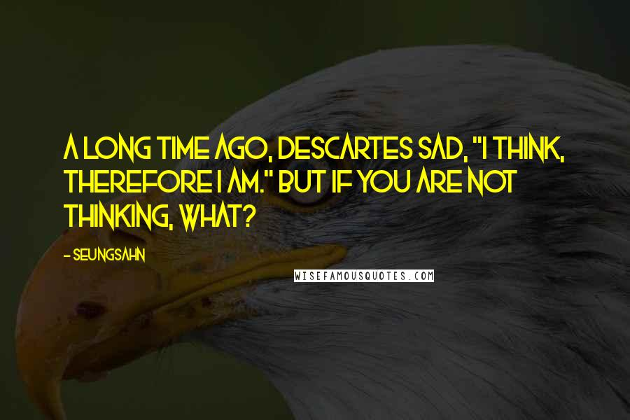 """Seungsahn quotes: A long time ago, Descartes sad, """"I think, therefore I am."""" But if you are not thinking, what?"""