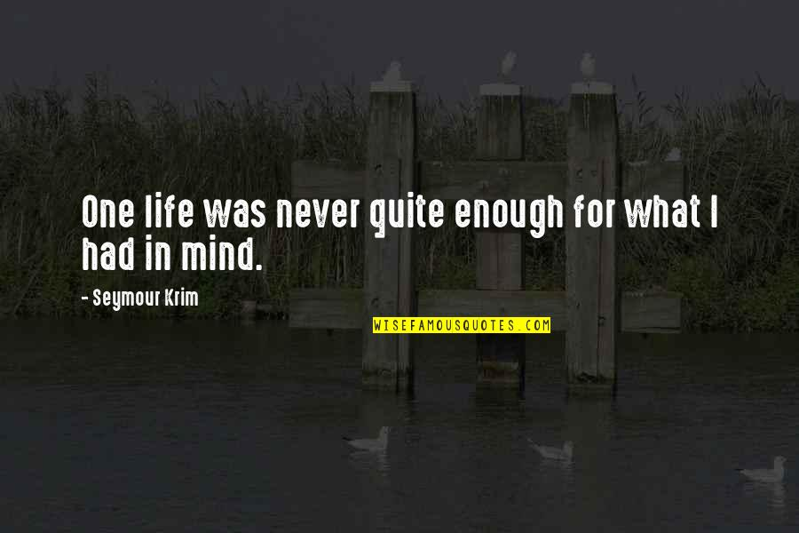 Seymour Krim Quotes By Seymour Krim: One life was never quite enough for what