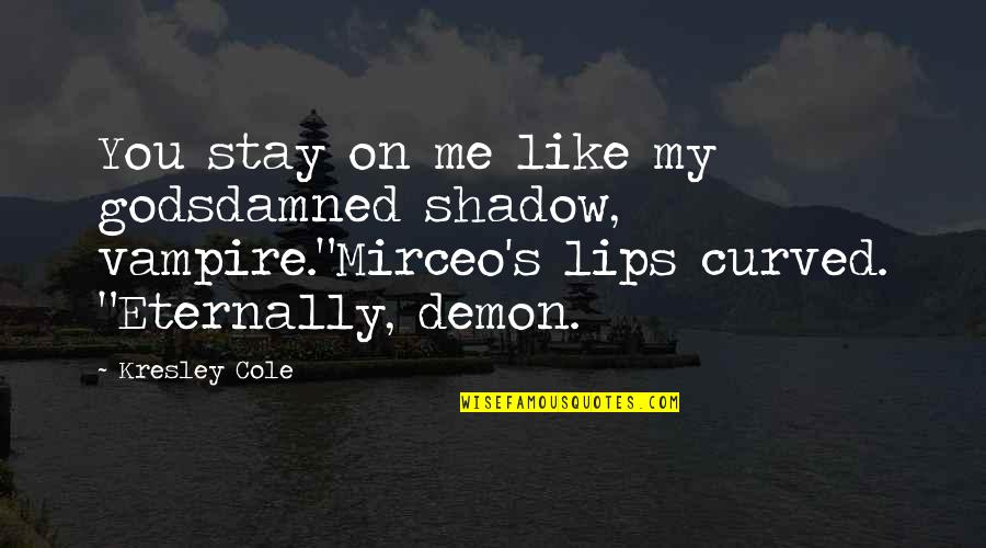 Shadow Of The Vampire Quotes By Kresley Cole: You stay on me like my godsdamned shadow,