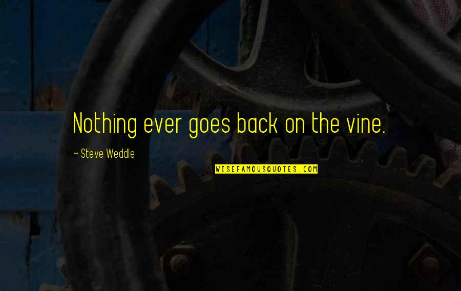Shahabuddin Ghori Quotes By Steve Weddle: Nothing ever goes back on the vine.