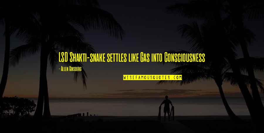 Shakti Quotes By Allen Ginsberg: LSD Shakti-snake settles like Gas into Consciousness