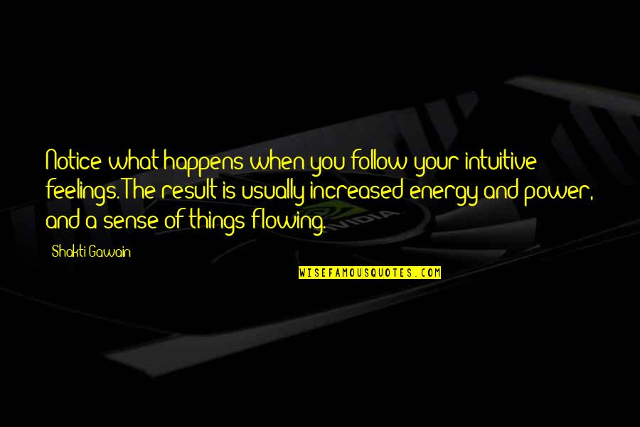 Shakti Quotes By Shakti Gawain: Notice what happens when you follow your intuitive