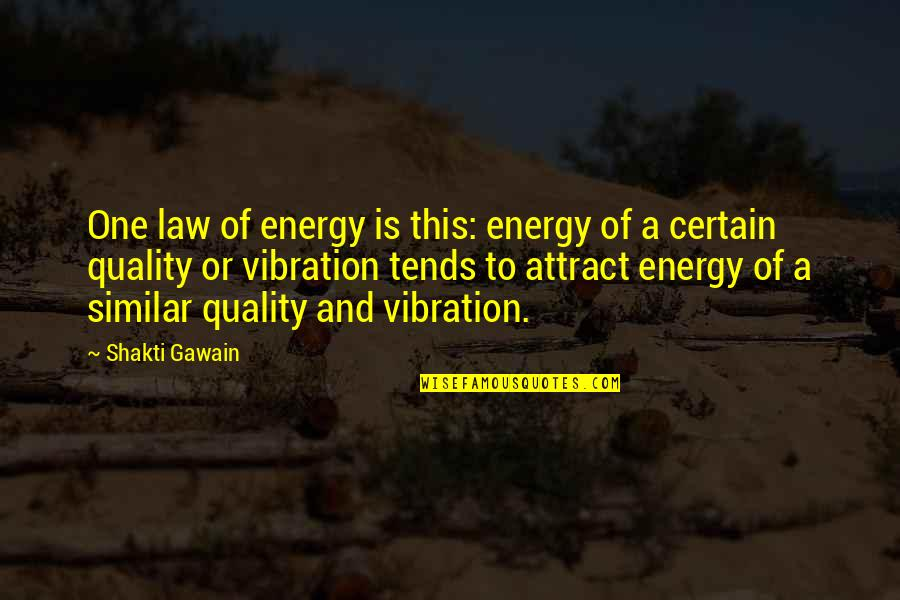 Shakti Quotes By Shakti Gawain: One law of energy is this: energy of
