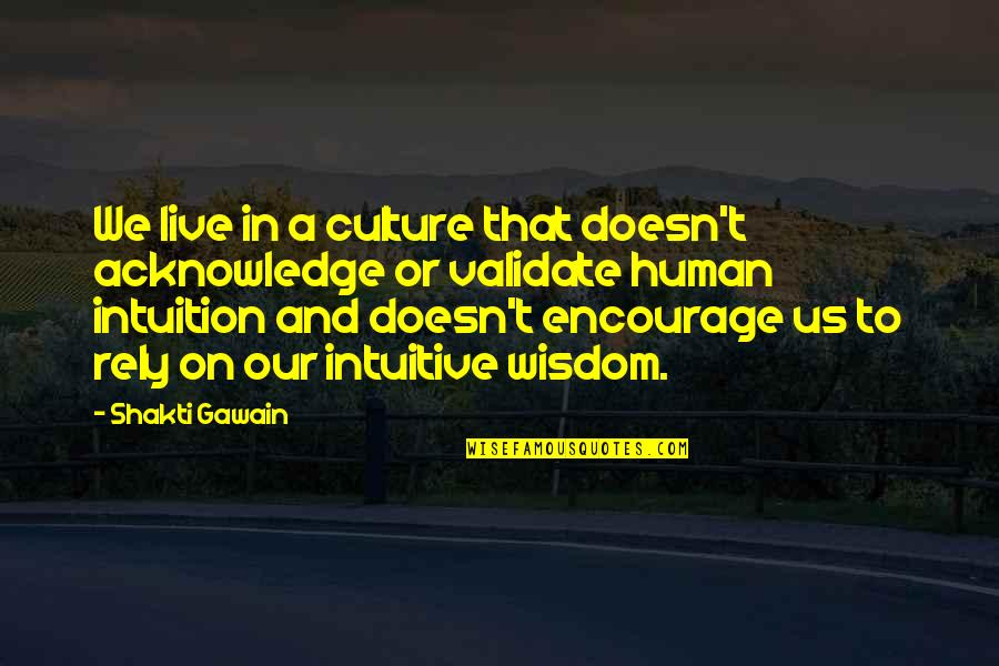 Shakti Quotes By Shakti Gawain: We live in a culture that doesn't acknowledge