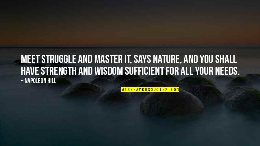 Shall We Meet Quotes By Napoleon Hill: Meet struggle and master it, says nature, and
