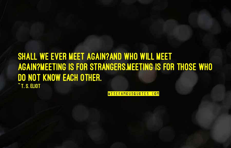 Shall We Meet Quotes By T. S. Eliot: Shall we ever meet again?And who will meet