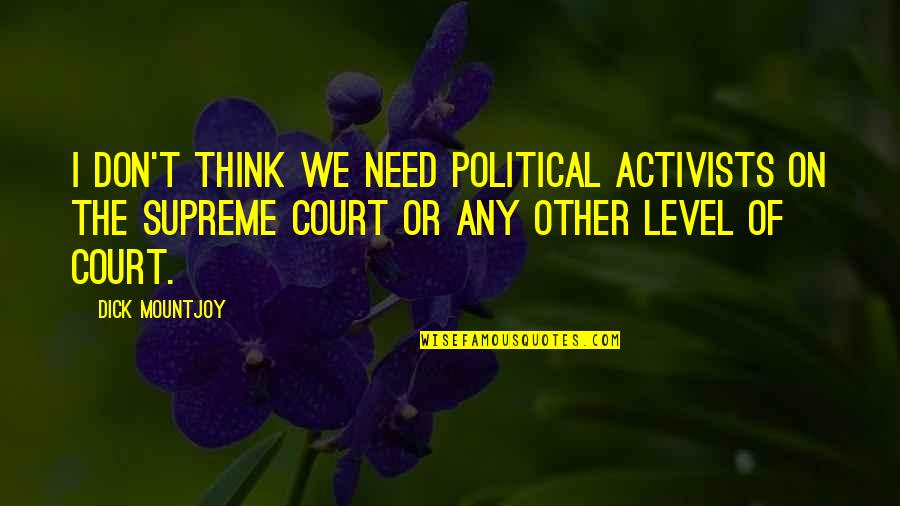 Shalls Quotes By Dick Mountjoy: I don't think we need political activists on