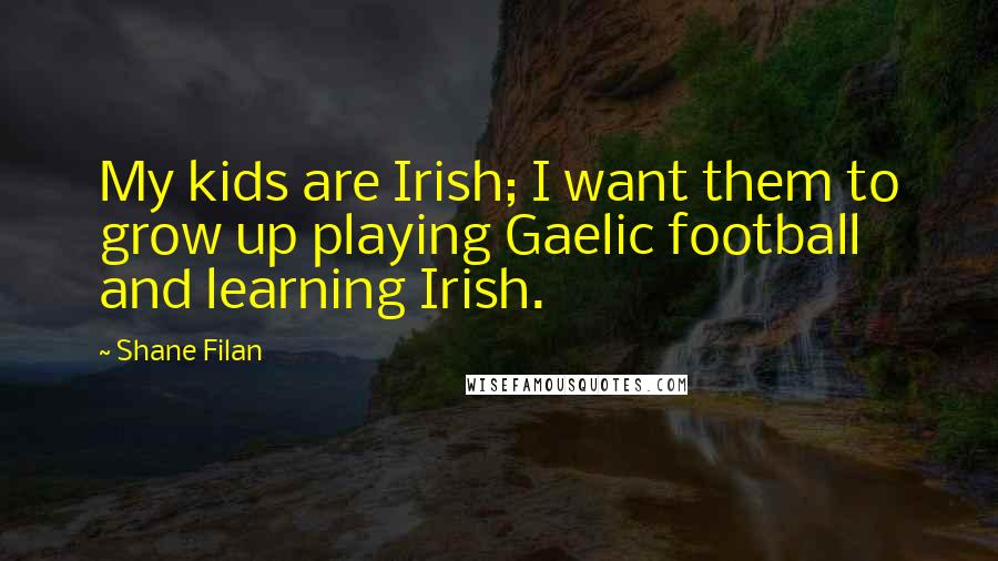 Shane Filan quotes: My kids are Irish; I want them to grow up playing Gaelic football and learning Irish.