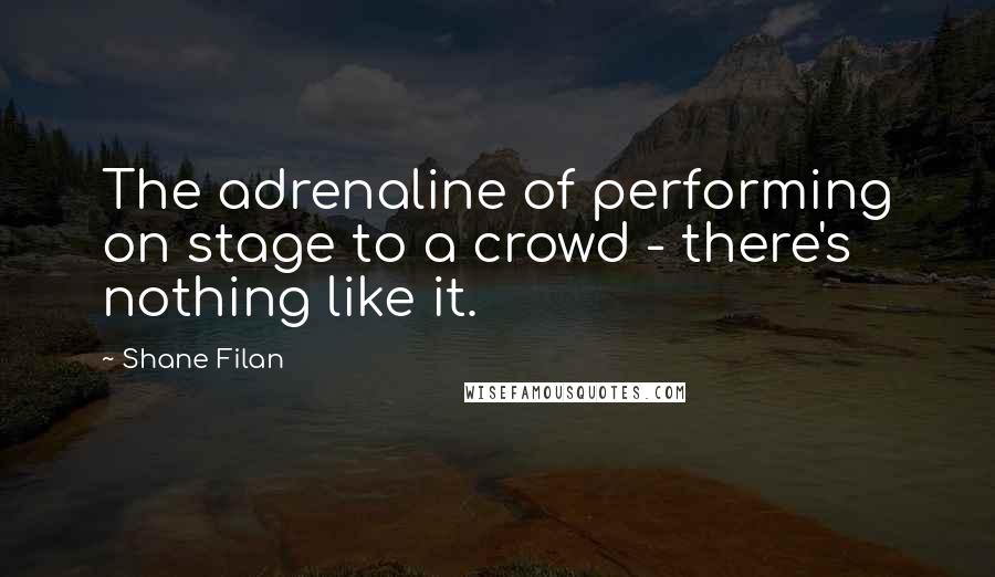 Shane Filan quotes: The adrenaline of performing on stage to a crowd - there's nothing like it.