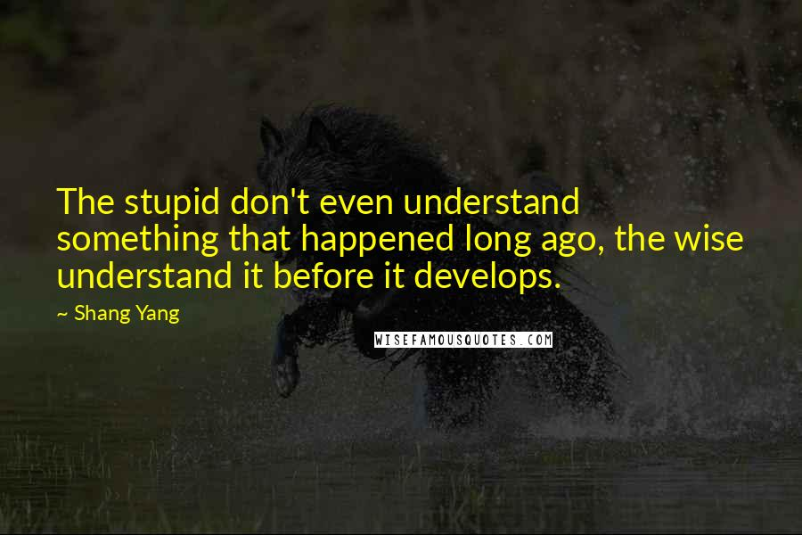 Shang Yang quotes: The stupid don't even understand something that happened long ago, the wise understand it before it develops.