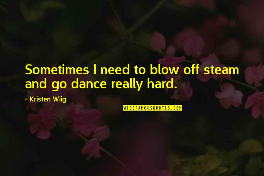 Shanghaied Quotes By Kristen Wiig: Sometimes I need to blow off steam and