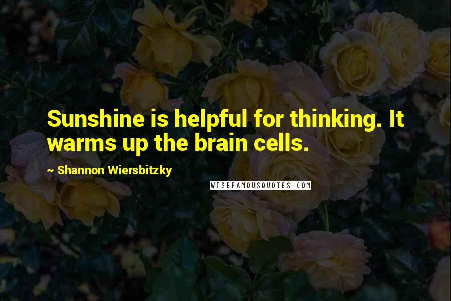 Shannon Wiersbitzky quotes: Sunshine is helpful for thinking. It warms up the brain cells.