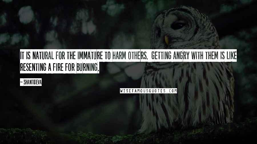 Shantideva quotes: It is natural for the immature to harm others. Getting angry with them is like resenting a fire for burning.