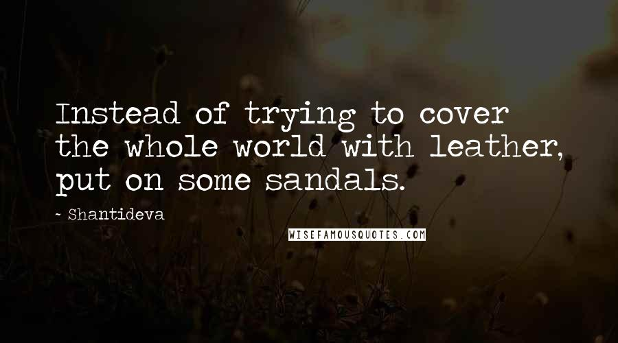 Shantideva quotes: Instead of trying to cover the whole world with leather, put on some sandals.