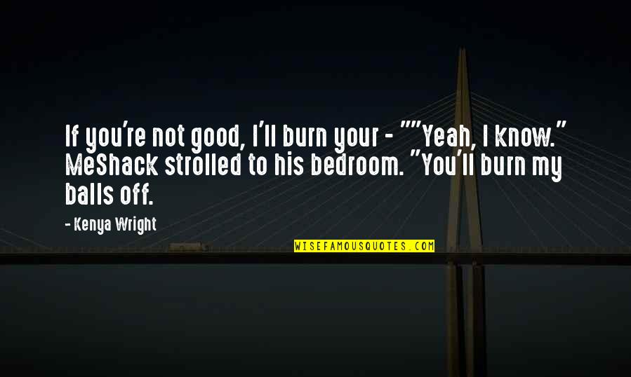 Shapeshifters Quotes By Kenya Wright: If you're not good, I'll burn your -