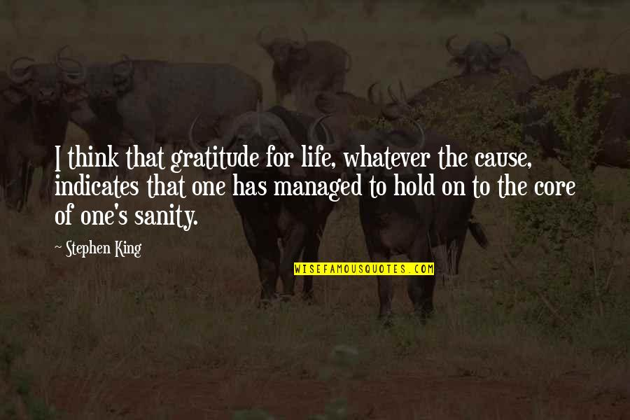 Shaq Quotes By Stephen King: I think that gratitude for life, whatever the