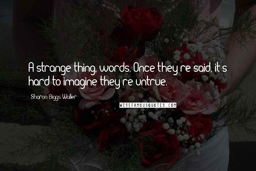 Sharon Biggs Waller quotes: A strange thing, words. Once they're said, it's hard to imagine they're untrue.