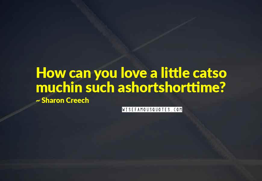 Sharon Creech quotes: How can you love a little catso muchin such ashortshorttime?