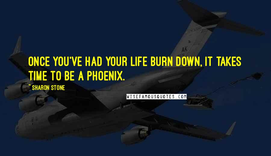 Sharon Stone quotes: Once you've had your life burn down, it takes time to be a Phoenix.