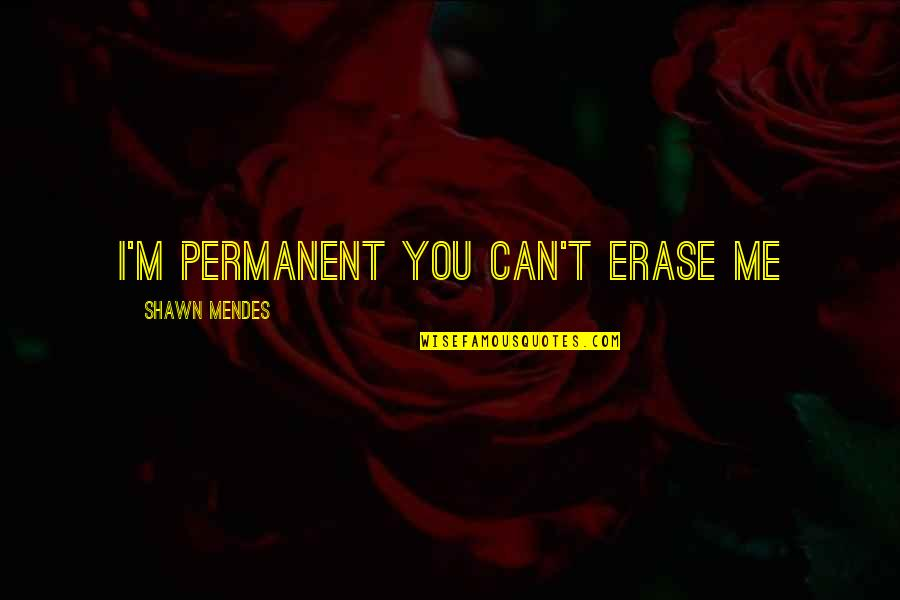 Shawn Mendes Best Quotes By Shawn Mendes: I'm permanent you can't erase me