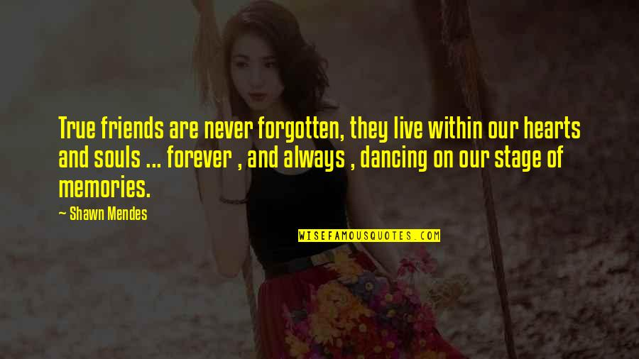 Shawn Mendes Quotes By Shawn Mendes: True friends are never forgotten, they live within