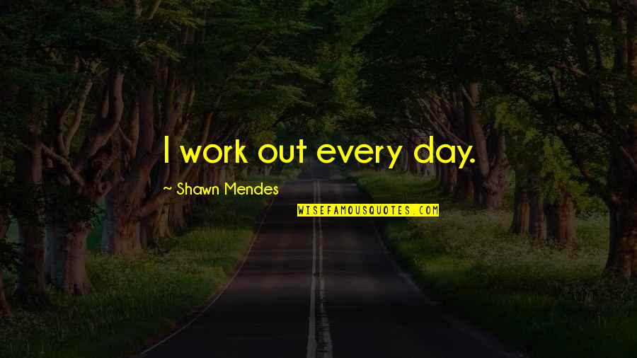Shawn Mendes Quotes By Shawn Mendes: I work out every day.