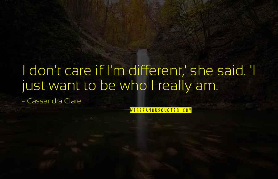 She Don't Care Quotes By Cassandra Clare: I don't care if I'm different,' she said.