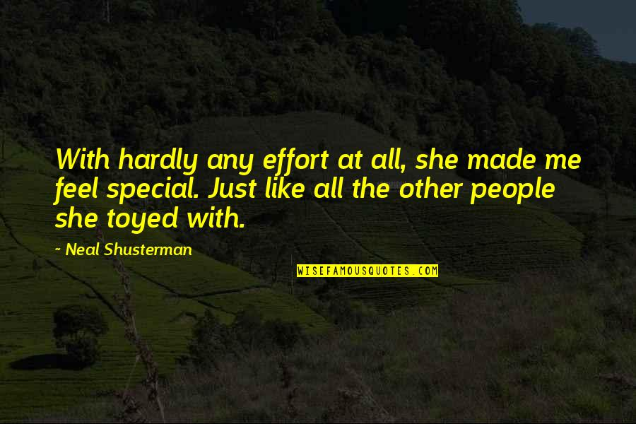 She Is Special Quotes By Neal Shusterman: With hardly any effort at all, she made