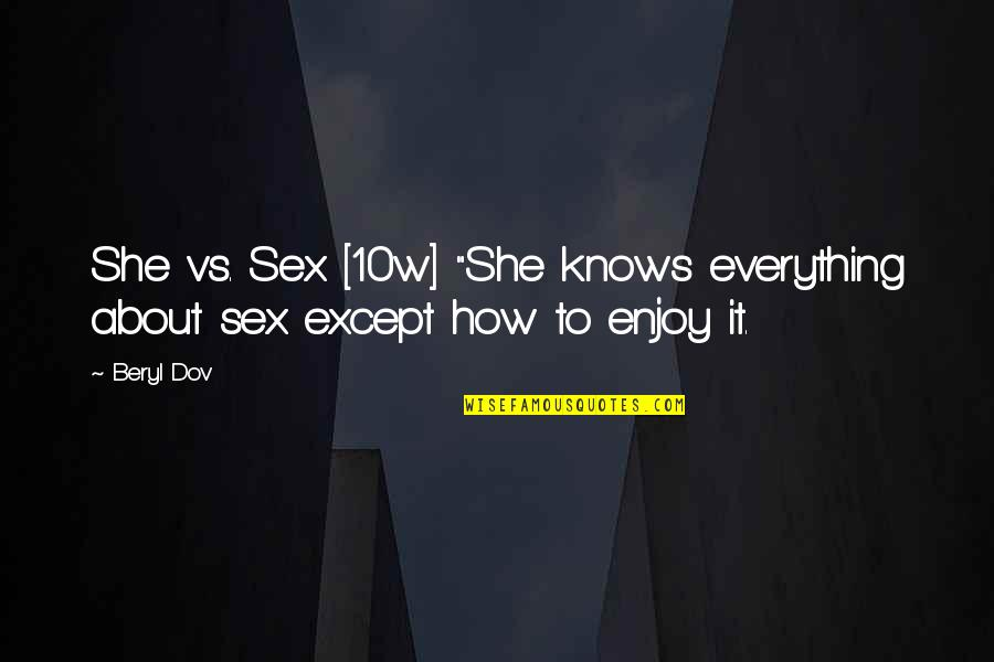 "She Knows Everything Quotes By Beryl Dov: She vs. Sex [10w] ""She knows everything about"