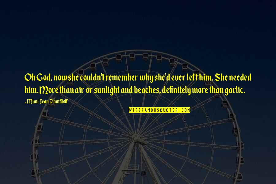 She Left Him Quotes By Mimi Jean Pamfiloff: Oh God, now she couldn't remember why she'd