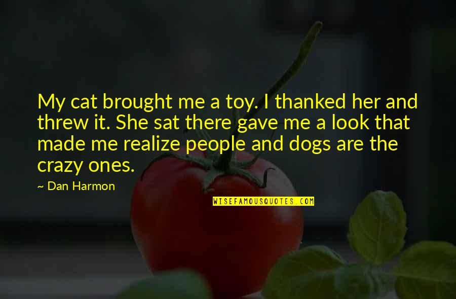 She Realize Quotes By Dan Harmon: My cat brought me a toy. I thanked