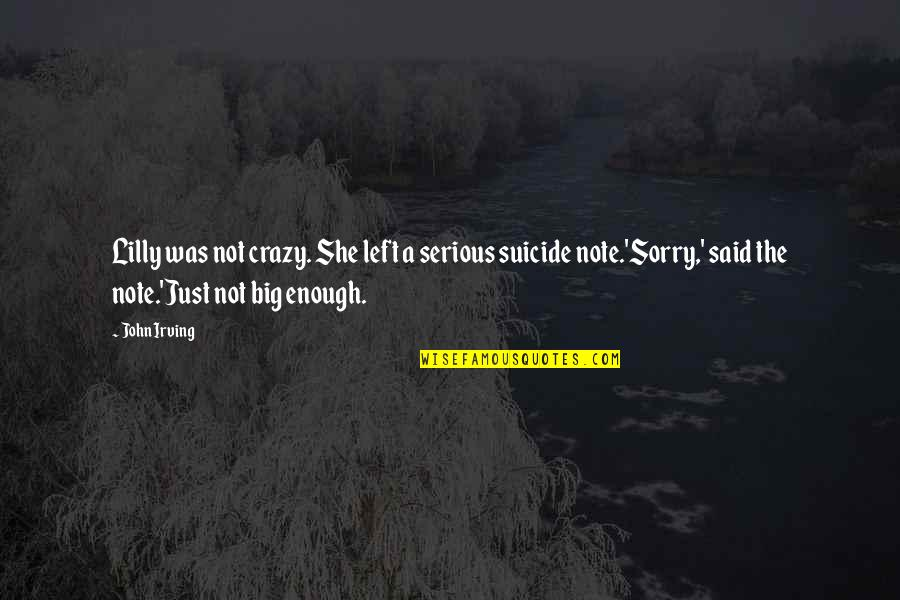 She Was Crazy Quotes By John Irving: Lilly was not crazy. She left a serious