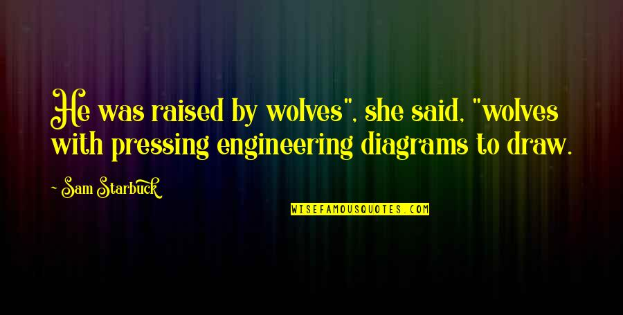 """She Wolves Quotes By Sam Starbuck: He was raised by wolves"""", she said, """"wolves"""