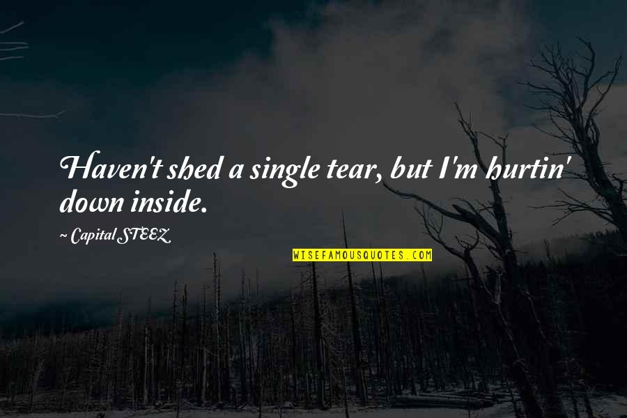 Shed Your Tears Quotes By Capital STEEZ: Haven't shed a single tear, but I'm hurtin'