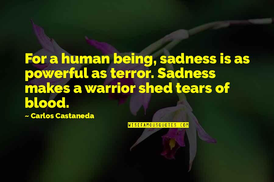 Shed Your Tears Quotes By Carlos Castaneda: For a human being, sadness is as powerful