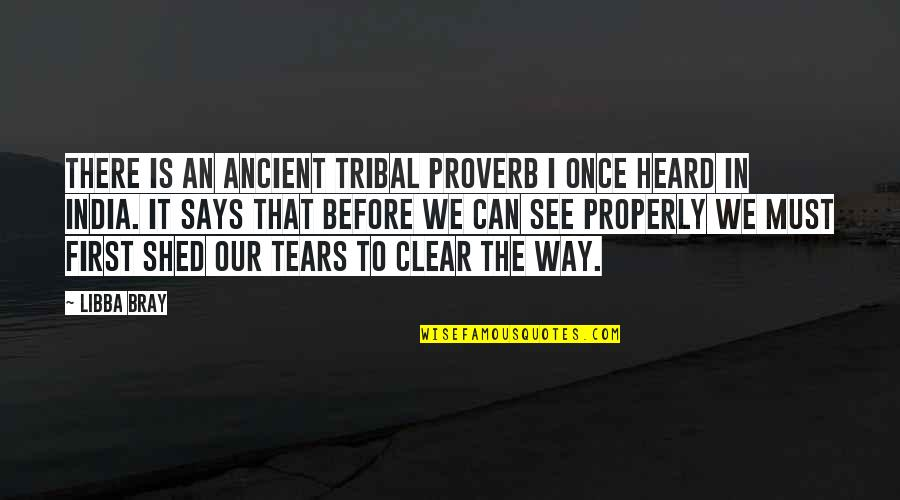 Shed Your Tears Quotes By Libba Bray: There is an ancient tribal proverb I once
