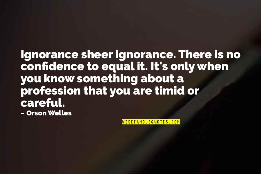 Sheer Ignorance Quotes By Orson Welles: Ignorance sheer ignorance. There is no confidence to