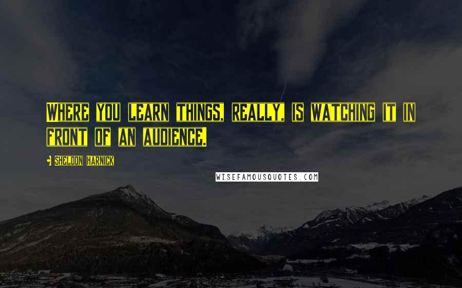 Sheldon Harnick quotes: Where you learn things, really, is watching it in front of an audience.