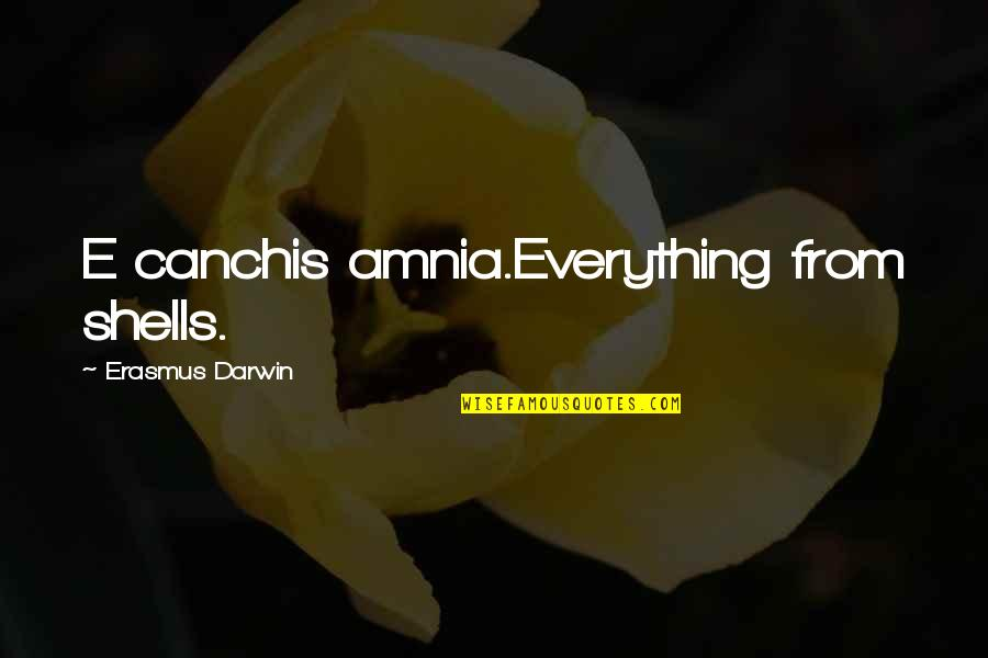 Shells Quotes By Erasmus Darwin: E canchis amnia.Everything from shells.