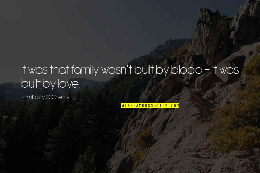 Shelter Adoption Quotes By Brittainy C. Cherry: it was that family wasn't built by blood