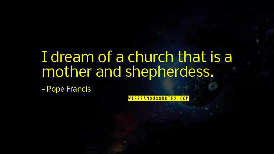 Shepherdess Quotes By Pope Francis: I dream of a church that is a