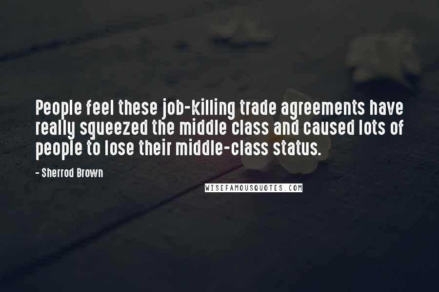 Sherrod Brown quotes: People feel these job-killing trade agreements have really squeezed the middle class and caused lots of people to lose their middle-class status.