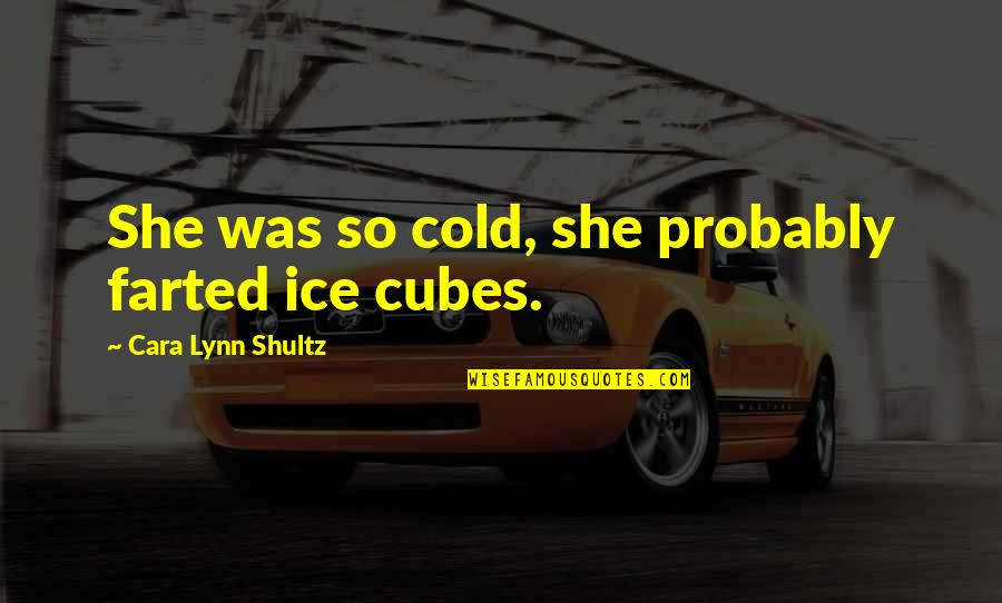 She's Cold As Ice Quotes By Cara Lynn Shultz: She was so cold, she probably farted ice