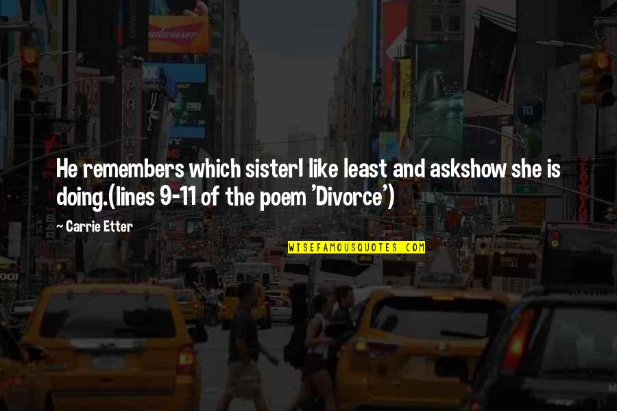 She's Like My Sister Quotes By Carrie Etter: He remembers which sisterI like least and askshow